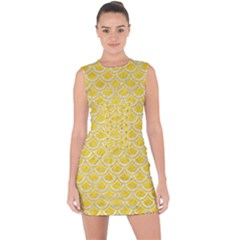 Scales2 White Marble & Yellow Colored Pencil Lace Up Front Bodycon Dress