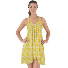 Scales2 White Marble & Yellow Colored Pencil Show Some Back Chiffon Dress