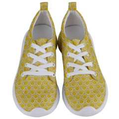 Scales2 White Marble & Yellow Colored Pencil Women s Lightweight Sports Shoes