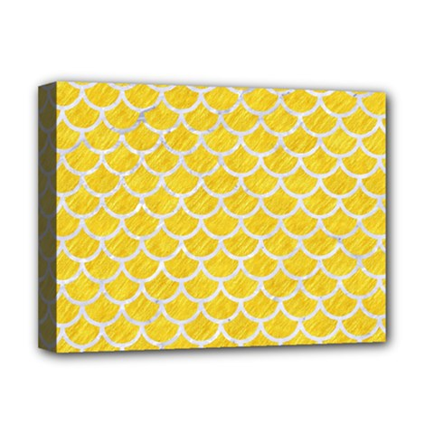 Scales1 White Marble & Yellow Colored Pencil Deluxe Canvas 16  X 12