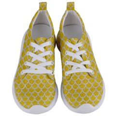 Scales1 White Marble & Yellow Colored Pencil Women s Lightweight Sports Shoes
