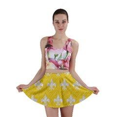 Royal1 White Marble & Yellow Colored Pencil (r) Mini Skirt