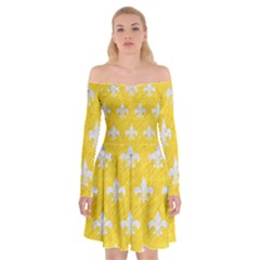 Royal1 White Marble & Yellow Colored Pencil (r) Off Shoulder Skater Dress