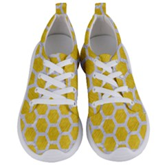Hexagon2 White Marble & Yellow Colored Pencil Women s Lightweight Sports Shoes