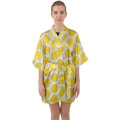 Hexagon2 White Marble & Yellow Colored Pencil Quarter Sleeve Kimono Robe