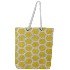 Hexagon2 White Marble & Yellow Colored Pencil Full Print Rope Handle Tote (large)