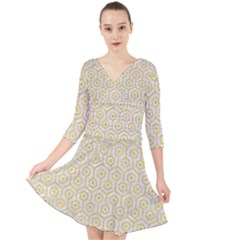 Hexagon1 White Marble & Yellow Colored Pencil (r) Quarter Sleeve Front Wrap Dress
