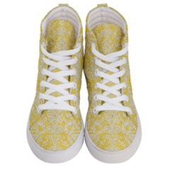 Damask2 White Marble & Yellow Colored Pencil Men s Hi Top Skate Sneakers