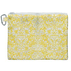 Damask2 White Marble & Yellow Colored Pencil Canvas Cosmetic Bag (xxl)