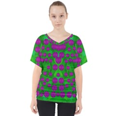 The Pixies Dance On Green In Peace V Neck Dolman Drape Top
