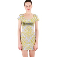 Damask1 White Marble & Yellow Colored Pencil (r) Short Sleeve Bodycon Dress