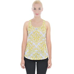 Damask1 White Marble & Yellow Colored Pencil (r) Piece Up Tank Top