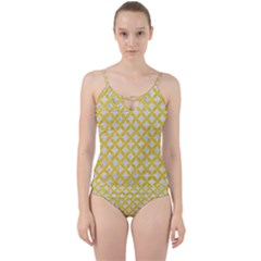 Circles3 White Marble & Yellow Colored Pencil (r) Cut Out Top Tankini Set