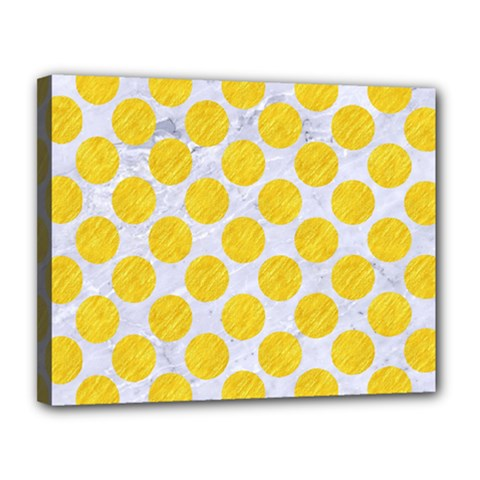 Circles2 White Marble & Yellow Colored Pencil (r) Canvas 14  X 11