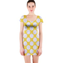 Circles2 White Marble & Yellow Colored Pencil Short Sleeve Bodycon Dress