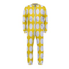 Circles1 White Marble & Yellow Colored Pencil Onepiece Jumpsuit (kids)