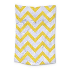 Chevron9 White Marble & Yellow Colored Pencil (r) Small Tapestry