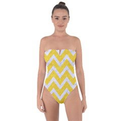 Chevron9 White Marble & Yellow Colored Pencilchevron9 White Marble & Yellow Colored Pencil Tie Back One Piece Swimsuit