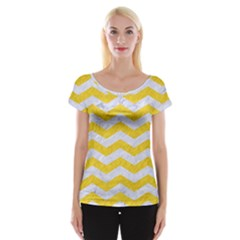 Chevron3 White Marble & Yellow Colored Pencil Cap Sleeve Tops