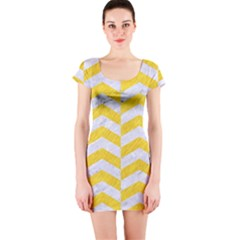 Chevron2 White Marble & Yellow Colored Pencil Short Sleeve Bodycon Dress