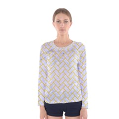 Brick2 White Marble & Yellow Colored Pencil (r) Women s Long Sleeve Tee