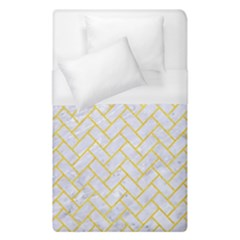 Brick2 White Marble & Yellow Colored Pencil (r) Duvet Cover (single Size)