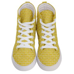 Brick1 White Marble & Yellow Colored Pencil Men s Hi Top Skate Sneakers