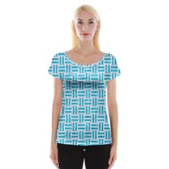 Woven1 White Marble & Turquoise Marble (r) Cap Sleeve Tops