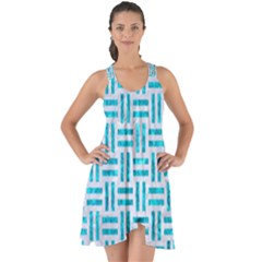 Woven1 White Marble & Turquoise Marble (r) Show Some Back Chiffon Dress