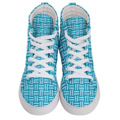 Woven1 White Marble & Turquoise Marble Men s Hi Top Skate Sneakers