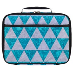 Triangle3 White Marble & Turquoise Marble Full Print Lunch Bag