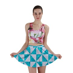 Triangle1 White Marble & Turquoise Marble Mini Skirt