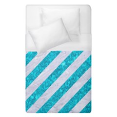 Stripes3 White Marble & Turquoise Marble (r) Duvet Cover (single Size)