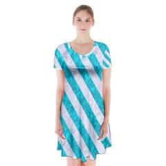 Stripes3 White Marble & Turquoise Marble Short Sleeve V Neck Flare Dress