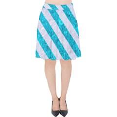 Stripes3 White Marble & Turquoise Marble Velvet High Waist Skirt