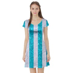Stripes1 White Marble & Turquoise Marble Short Sleeve Skater Dress