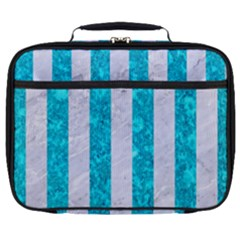 Stripes1 White Marble & Turquoise Marble Full Print Lunch Bag