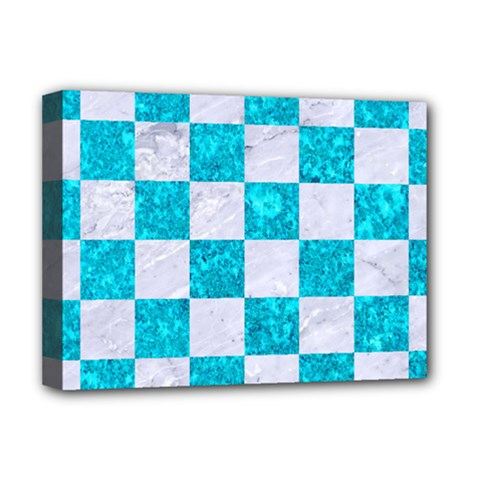 Square1 White Marble & Turquoise Marble Deluxe Canvas 16  X 12
