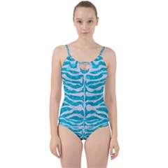 Skin2 White Marble & Turquoise Marble Cut Out Top Tankini Set