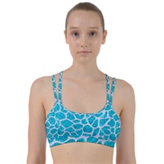 Skin1 White Marble & Turquoise Marble (r) Line Them Up Sports Bra