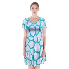 Skin1 White Marble & Turquoise Marble Short Sleeve V Neck Flare Dress