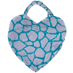 Skin1 White Marble & Turquoise Marble Giant Heart Shaped Tote