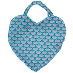Scales3 White Marble & Turquoise Marble (r) Giant Heart Shaped Tote