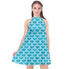 Scales3 White Marble & Turquoise Marble Halter Neckline Chiffon Dress