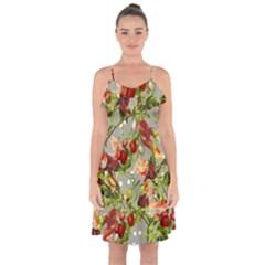 Fruit Blossom Gray Ruffle Detail Chiffon Dress