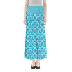 Scales2 White Marble & Turquoise Marble Full Length Maxi Skirt