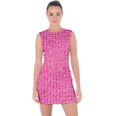 Knitted Wool Bright Pink Lace Up Front Bodycon Dress