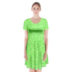 Knitted Wool Neon Green Short Sleeve V Neck Flare Dress