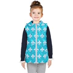 Royal1 White Marble & Turquoise Marble (r) Kid s Puffer Vest