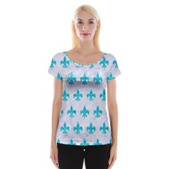 Royal1 White Marble & Turquoise Marble Cap Sleeve Tops
